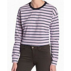Code Mode Lavender Stripe Long Sleeved Crop Top